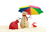 Snowman on a beach Santa&#39;s Sack