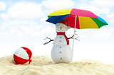 snowman on a beach 