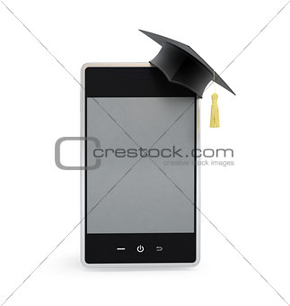 touchscreen phone in the graduation cap