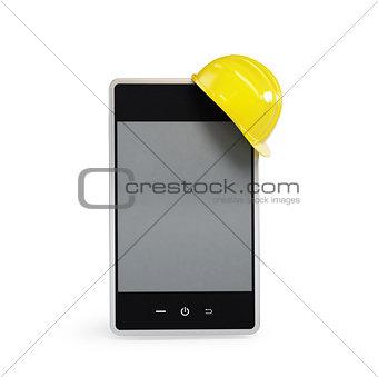touchscreen phone in the helmet