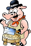 Hand-drawn Vector illustration of an Butcher Pig 