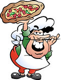 Hand-drawn Vector illustration of an Italian Pizza Baker
