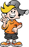 Hand-drawn Vector illustration of an happy School Boy Pointing