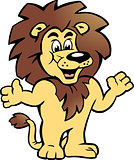 Hand-drawn Vector illustration of an Happy Proud Lion King, there welcomes You