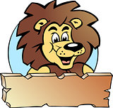 Hand-drawn Vector illustration of an Proud Lion King - Logo Design