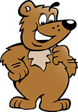 Hand-drawn Vector illustration of an Happy Proud Brown Bear 