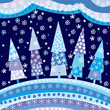 Background with Christmas trees and motifs under night sky