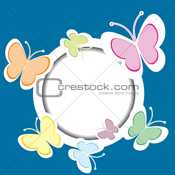 Frame with butterflies and place for your text
