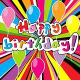 Happy birthday card with colored sunburst