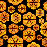 Orange flowers background seamless pattern