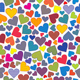Stylized hearts background seamless pattern