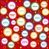 Wrapping paper with sold and discounds adverts in colored circle