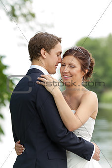 Young newlywed couple in romantic pose