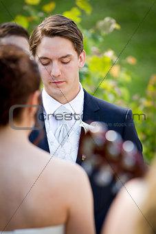 Groom on wedding ceremony