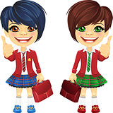 Vector smiling brunette cute schoolgirls