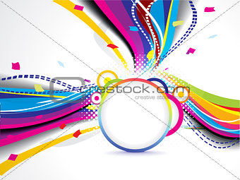abstract colorful wave background with circle
