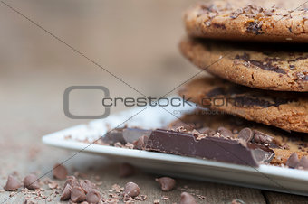 Close up of hand baked chocolate chip cookies