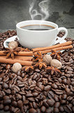 Steaming hot Cup of coffee with cinnamon, star anise, nutmeg and