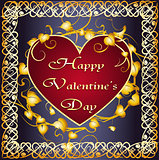Greeting card with heart in celtic frame