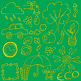 vector set of hand drawings on the theme of ecology