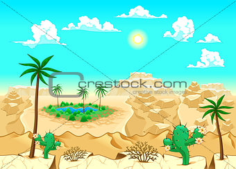 Desert with oasis.