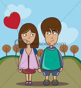 boy and girl walking in the park