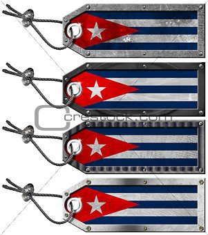 Cuba Flags Set of Grunge Metal Tags