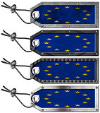 Europa Flags Set of Grunge Metal Tags