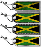 Jamaica Flags Set of Grunge Metal Tags