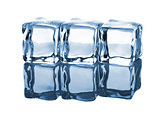 Three ice cubes in row