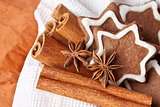 chocolate Christmas cookies in the shape of stars