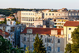 Aerial View on Ancient Roman Amphitheater and City of Pula, Croa
