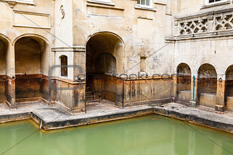 Ancient Roman Baths in the City of Bath, United Kingdom