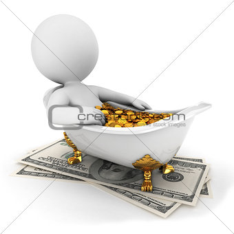 3d white people takes a money bath