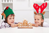Children with their gingerbread house