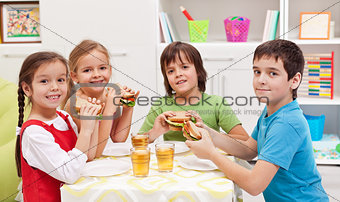 Kids having a snack in their room