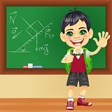Vector smiling schoolboy near blackboard