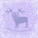 vector christmas card with deer