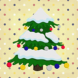 christmas tree on colorful polka dot