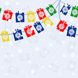 vector seamless garland with gifts