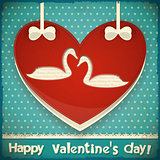 Valentines Card with Swans