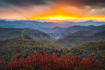 Blue Ridge Parkway Autumn Mountains Sunset Western NC Scenic Landscape