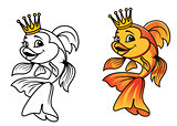 Golden fish in cartoon style