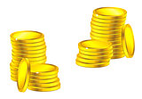 Columns of golden coins for business, saving or wealth concept design