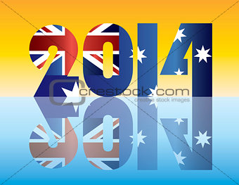 Australia Flag 2014 Silhouette Illustration