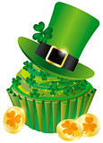 St Patricks Day Leprechaun Hat Cupcake Illustration