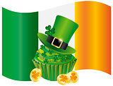 Ireland Flag with Hat Cupcake Coins and Shamrock