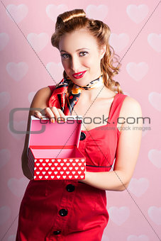 Blond Retro Girl Opening Hearts Present Gift Box