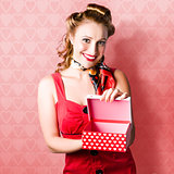 Valentine Day Woman With Red Heart Gift From Lover