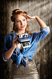 Young Retro Woman Holding Instant Camera